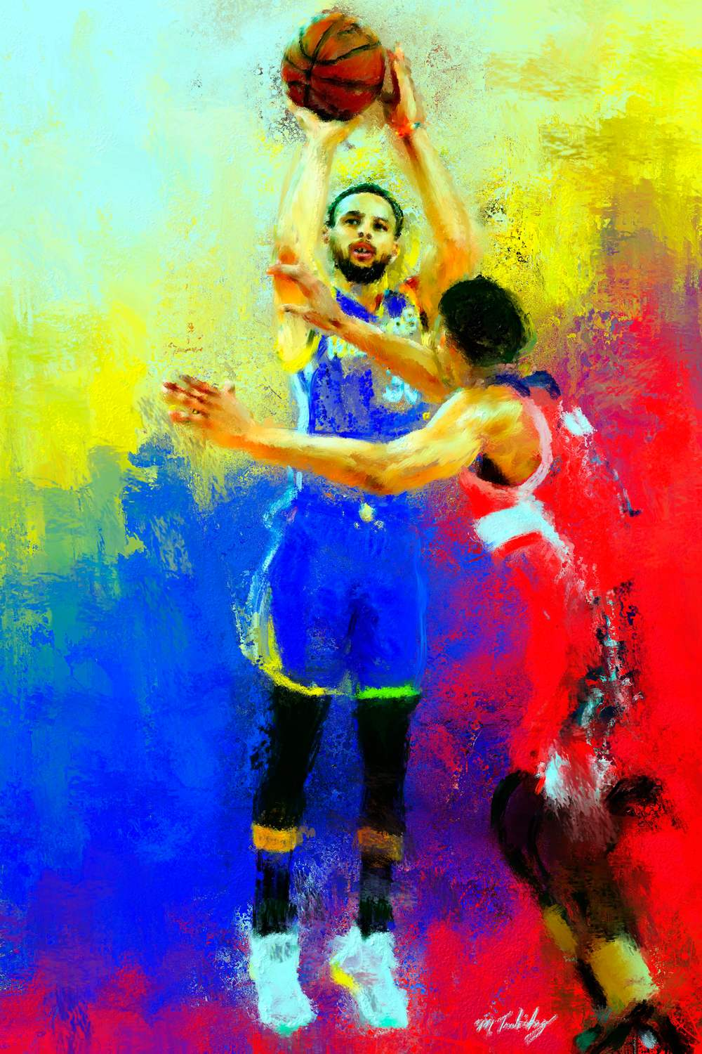 Steph Curry basketball painting by sports artist mark trubisky