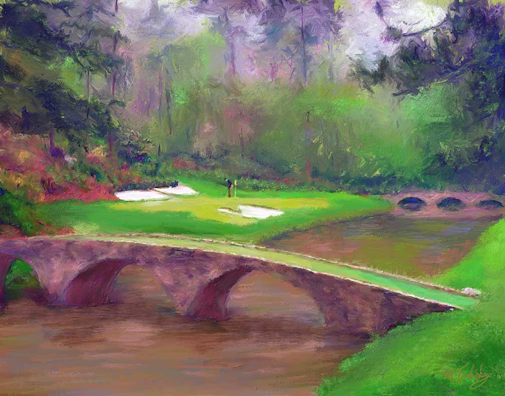 Painting of Augusta National golf course by artist Mark Trubisky