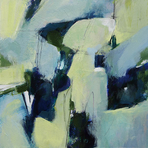 Early Morning Rain Abstract painting in blues and greens by Canadian artist Marianne Morris