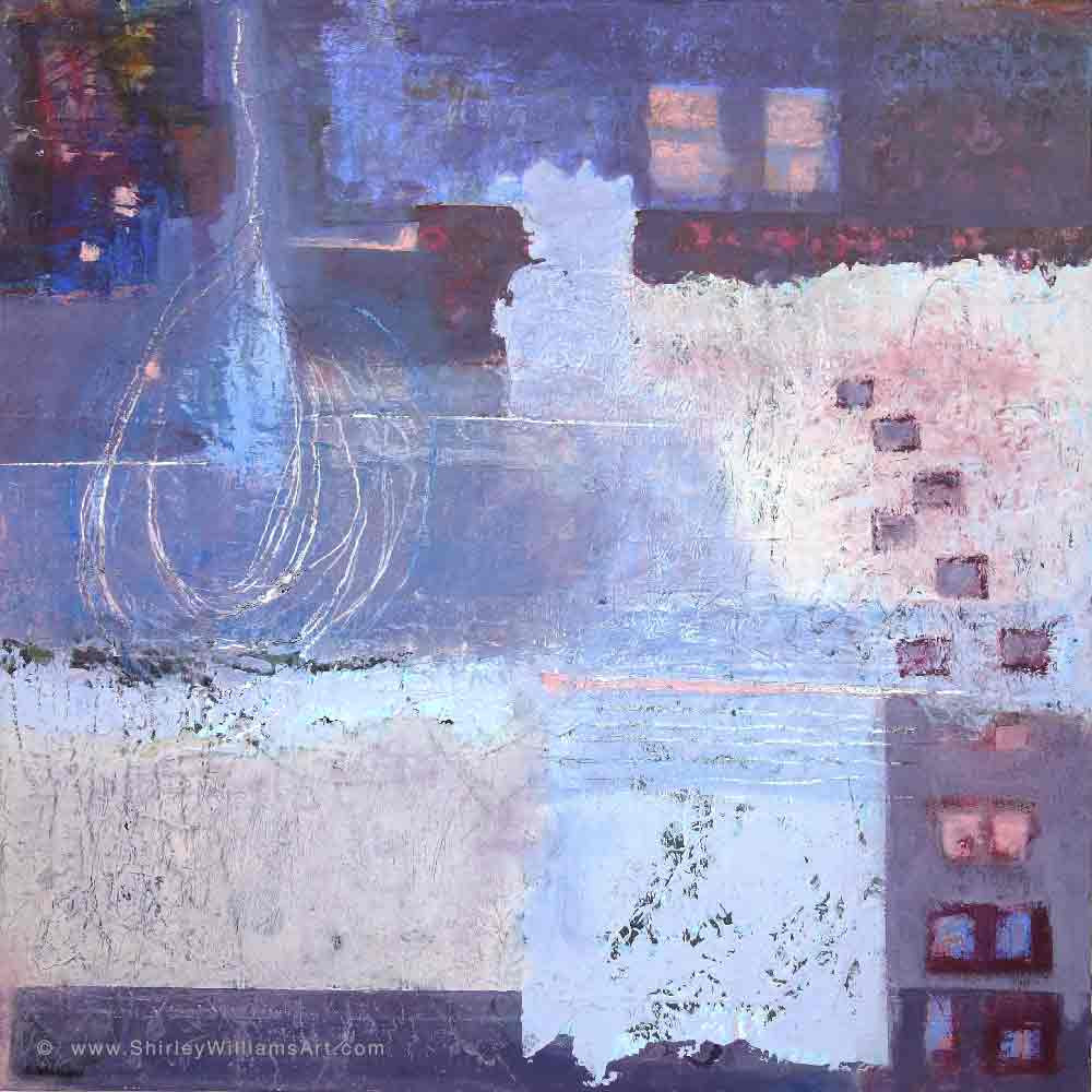 'City Lights' abstract painting on canvas by Shirley Williams