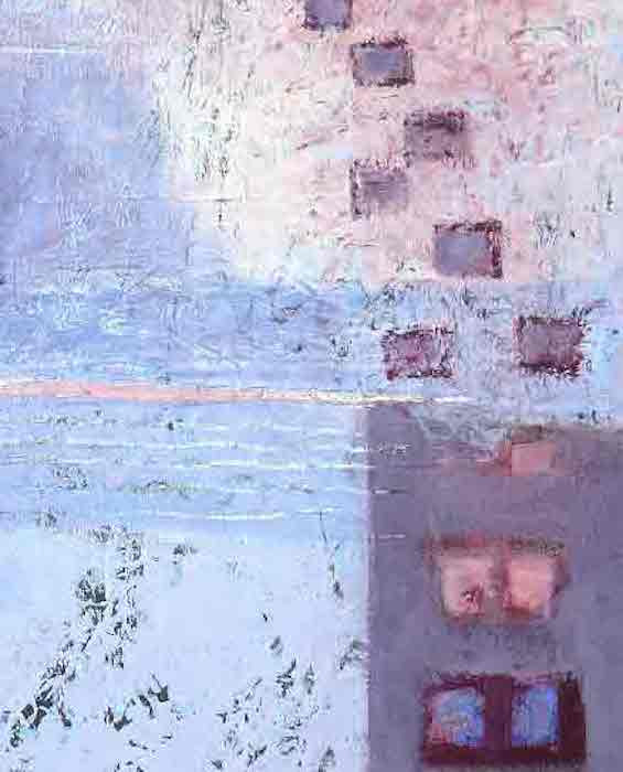 Detail of the painting 'city lights' by artist shirley williams