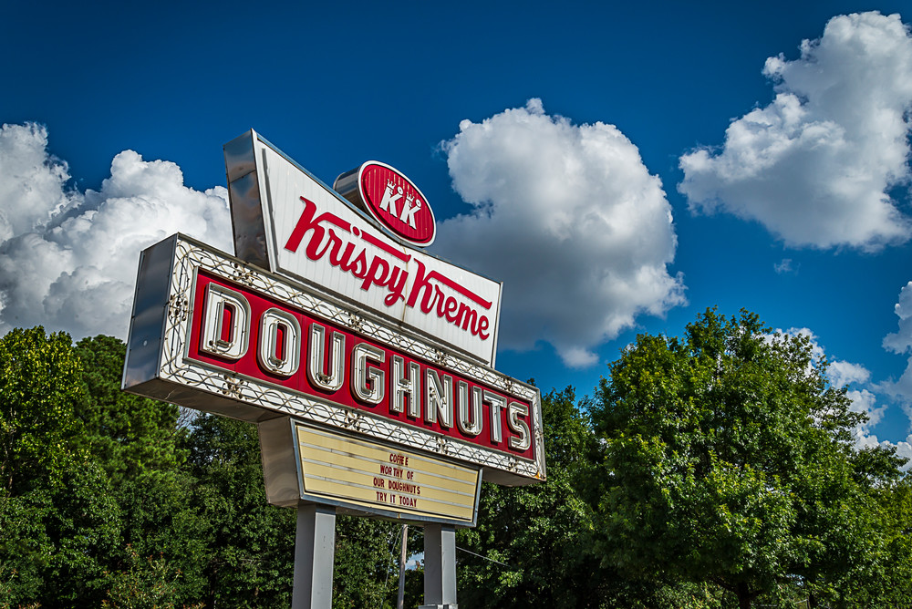 The Krispy Kreme Donut sign on Ponce de Leon Ave in Atlanta