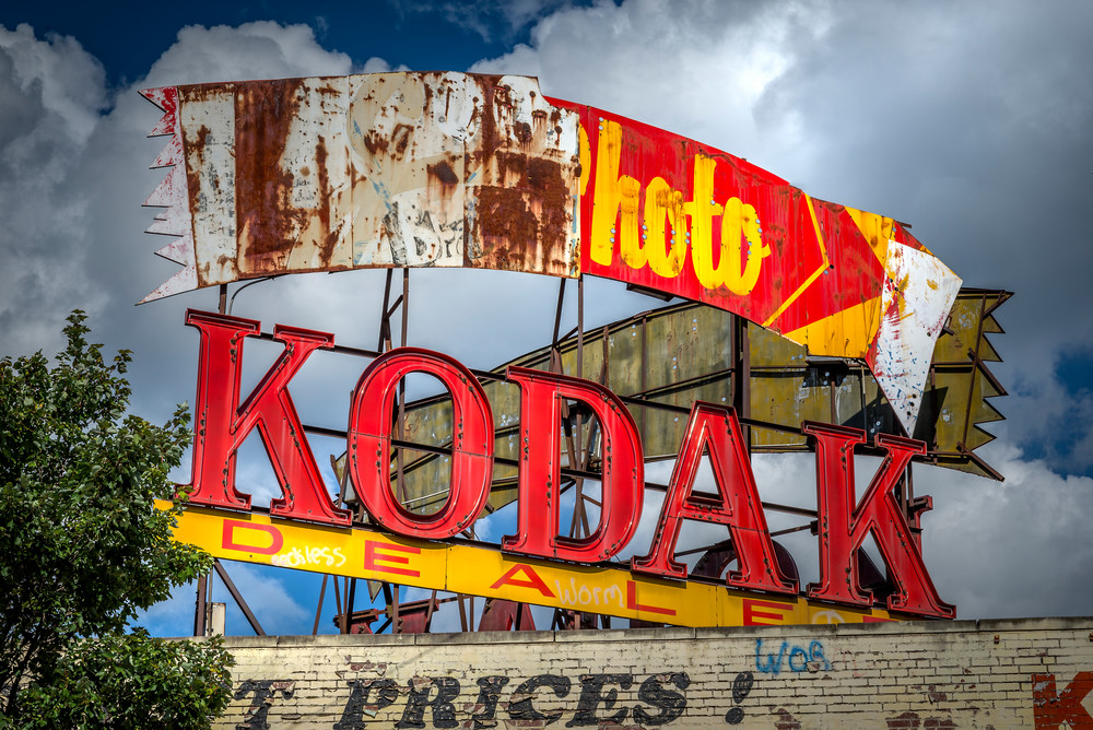 A close-up of the Kodak sign on Ponce de Leon Ave