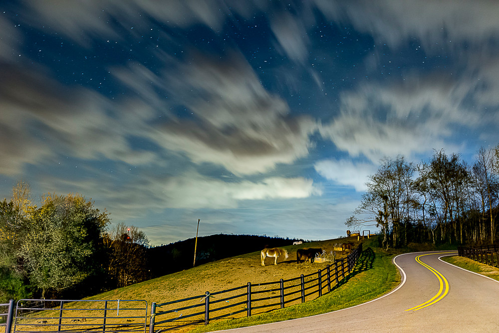 A night photo taken on a country road