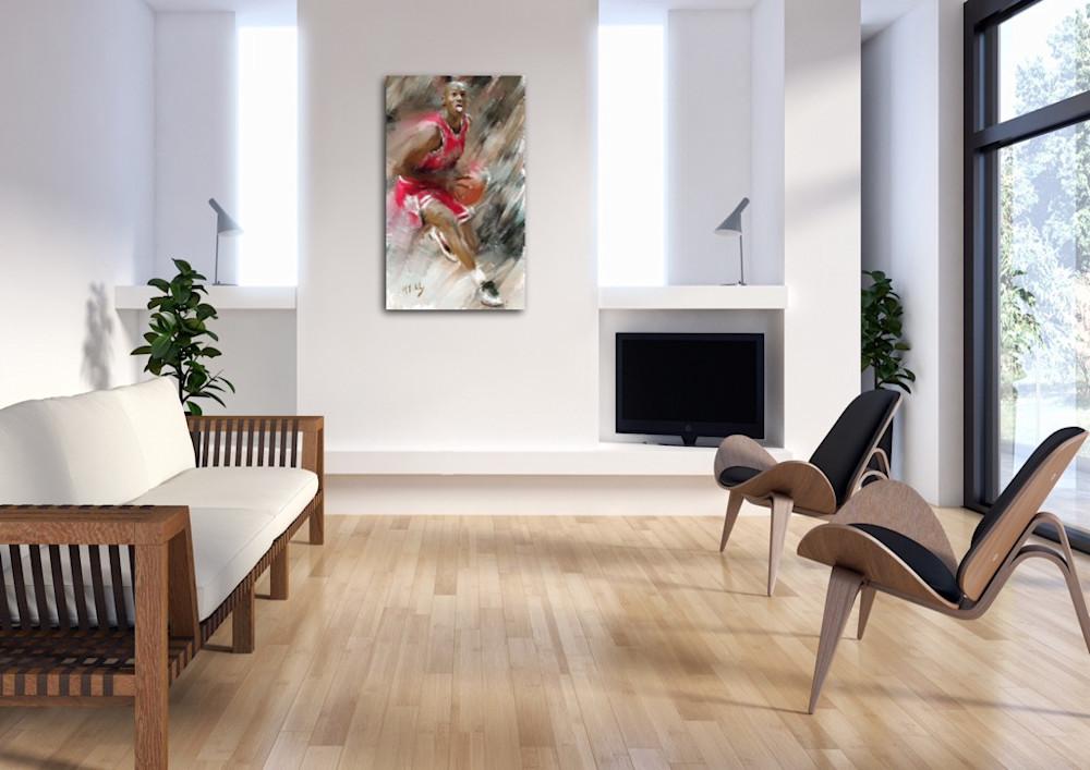 Michael Jordan painting by Mark Trubisky hanging in living room