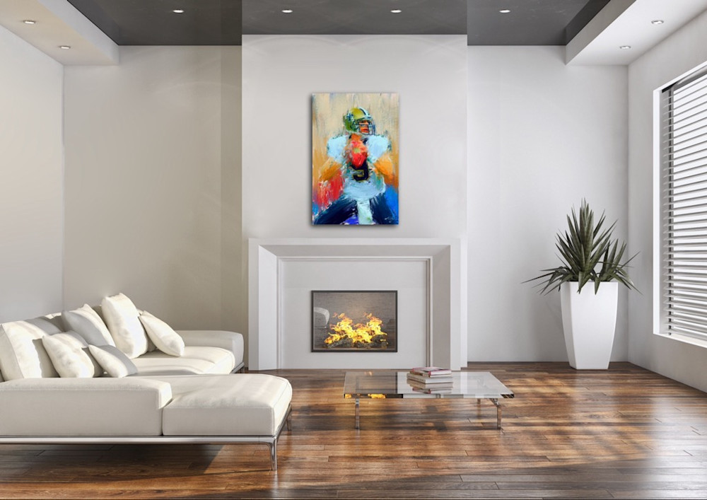 Drew Brees football painting by sports artist Mark Trubisky hanging in living room