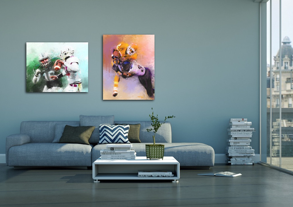 Football paintings by artist Mark Trubisky hanging in casual high rise apartment den area