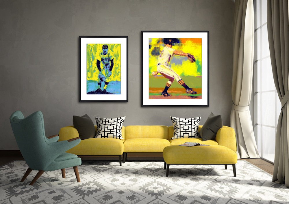 Baseball paintings by Mark Trubisky hanging in contemporary living room