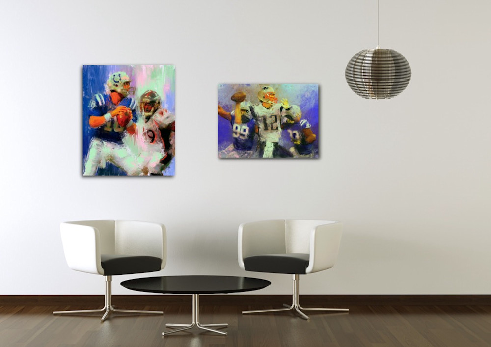 Paintings of Peyton Manning and Tom Brady by artist Mark Trubisky hanging in office lobby