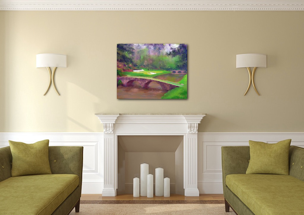 Painting of Augusta National Golf Course by artist Mark Trubisky hanging in a living room