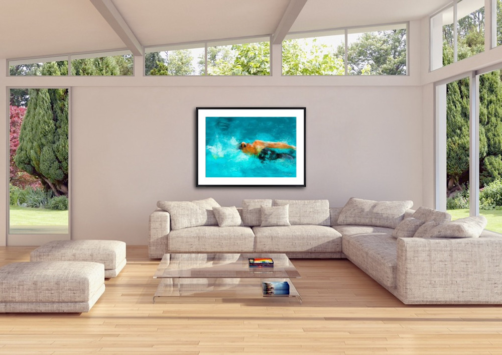 Painting of Olympic swimmer by artist Mark Trubisky hanging in a large open living room