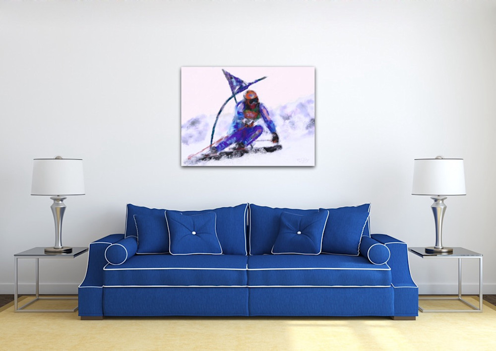 Ski painting by artist Mark Trubisky hanging over couch in family room