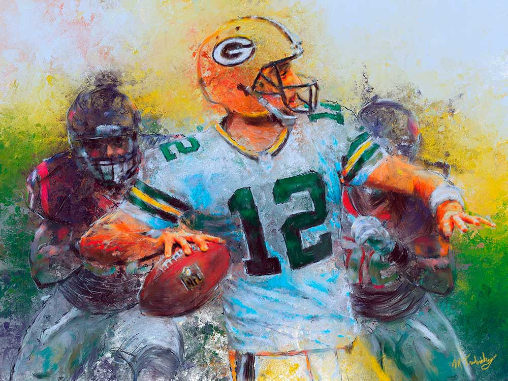 Final painting of Aaron Rodgers by sports artist Mark Trubisky