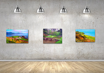 Gallery wall of golf course paintings by sports artist Mark Trubisky