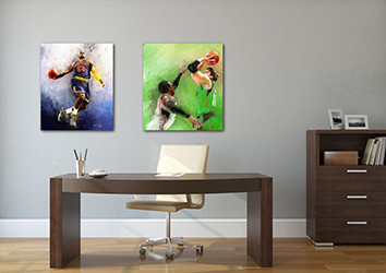 Paintings of Lebron James and Dirk Nowitzki hanging in an office by sports artist Mark Trubisky