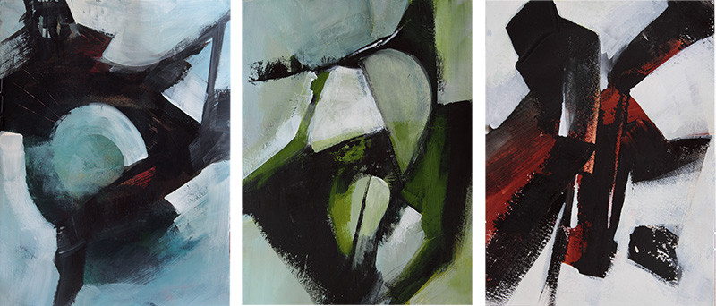 three abstract paintings on paper by Marianne Morris