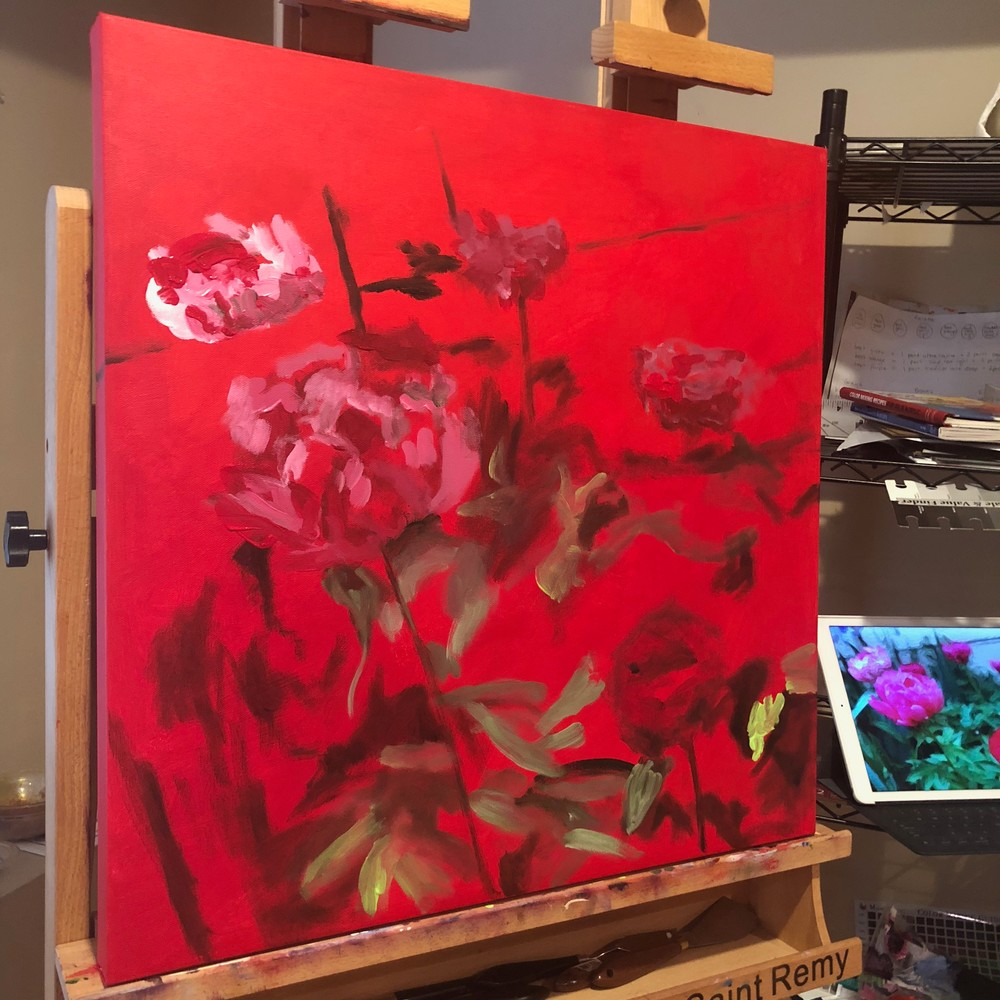 Start of painting of peonies on red background