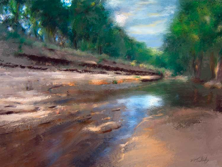 Painting of Texas Hill Country stream by artist Mark Trubisky