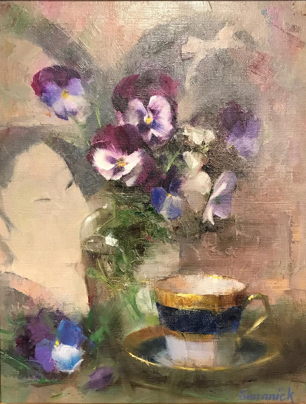 Pansies and Demitasse | Southwest Art Gallery Tuson | Brenda Semanick