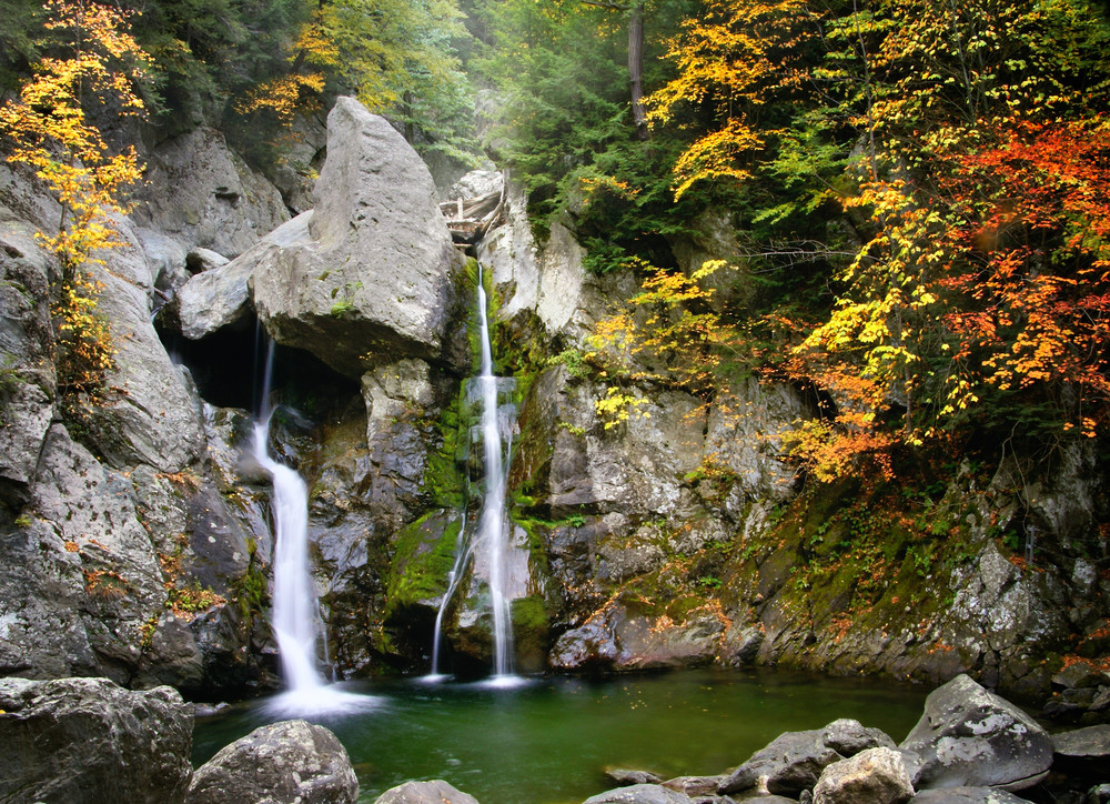 Bash Bish Falls during peak fall foliage by Thomas Schoeller