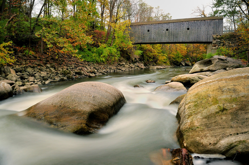 Bulls Bridge is one of 3 CT covered bridges. Image by Thomas Schoeller