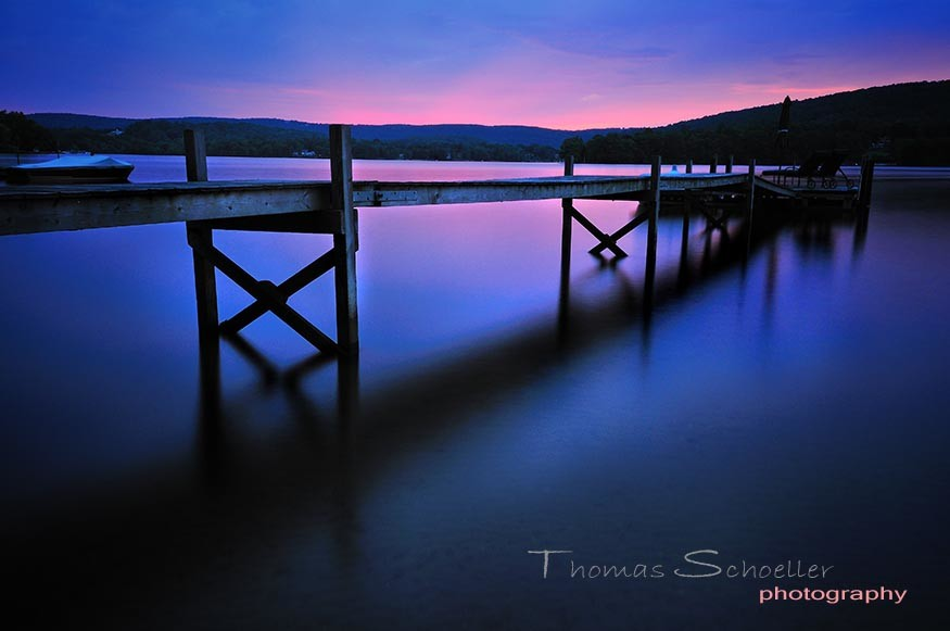 Dusk from the dock along Lake Waramaug's shoreline. Image by Thomas Schoeller