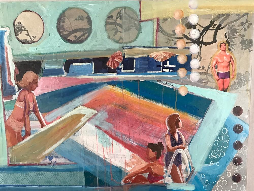 pool party, nostalgia, 1950s, collage art