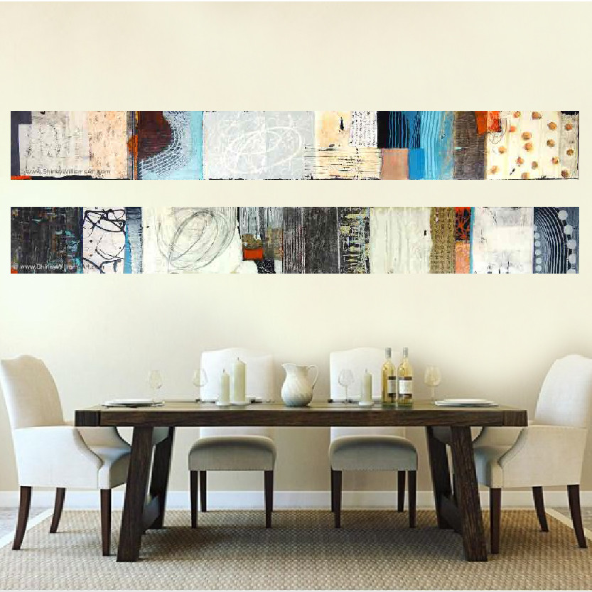 Two long paintings in a dining room by artist, Shirley Williams