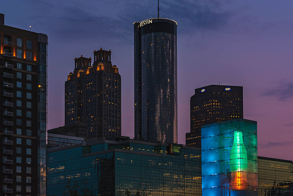 Nighttime view of the Westin in Downtown Atlanta