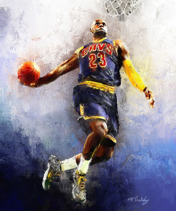 Lebron James painting by sports artist Mark Trubisky