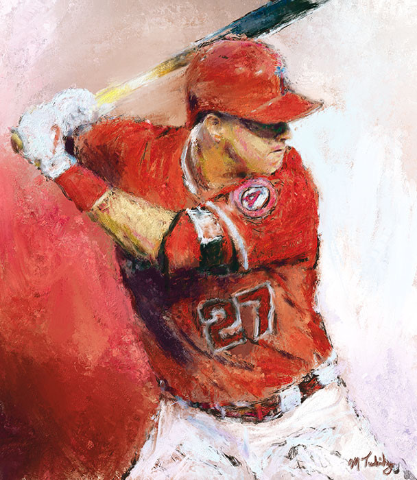 Painting of Mike Trout by sports artist Mark Trubisky