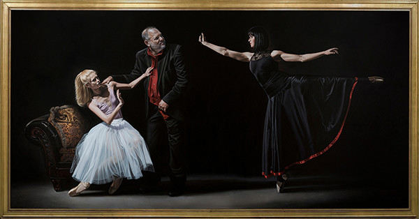 "Florida artist Kevin Grass's ""Not #MeToo: No More Casting Couch"" acrylic on canvas painting shows two ballerinas resisting the sexual advances of Harvey Weinstein."