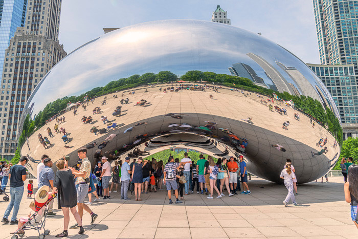 Close up of the Bean at Millennium Park
