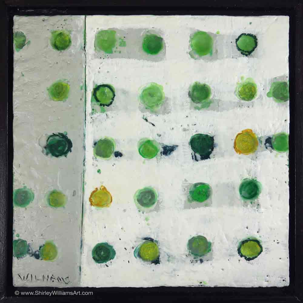 Green Grid original small painting by shirley Williams artist. framed encaustic wax on wood