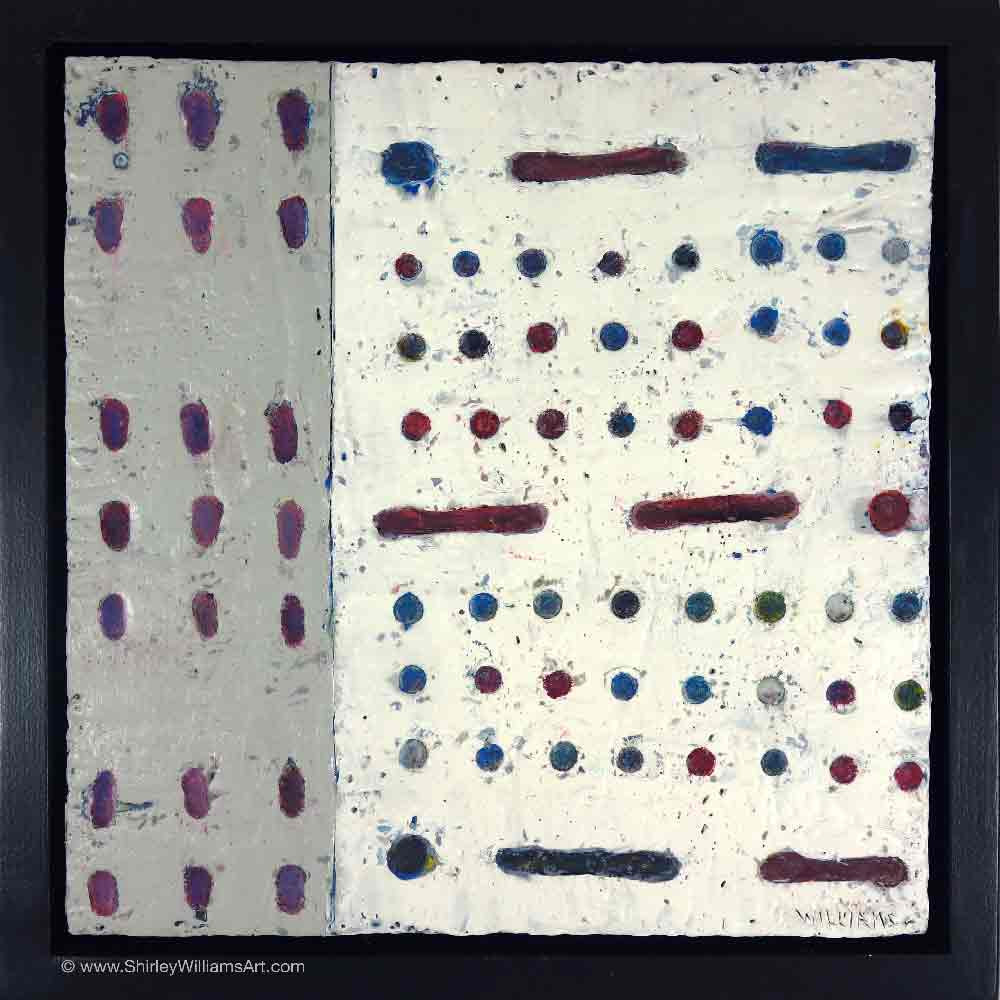 Dots and Dashes original painting by artist Shirley Williams encaustic wax on wood  float framed