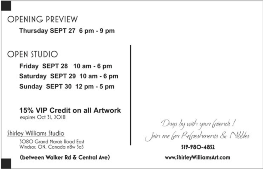 Dates and times for Shirley Williams Art Open Studio