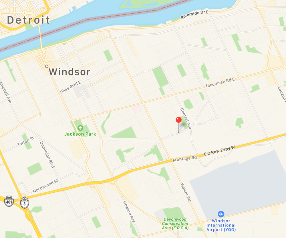 Map of Windsor Detroit area