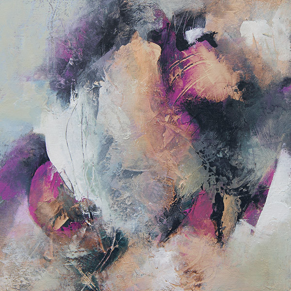 Abstract painting in pinks and orange