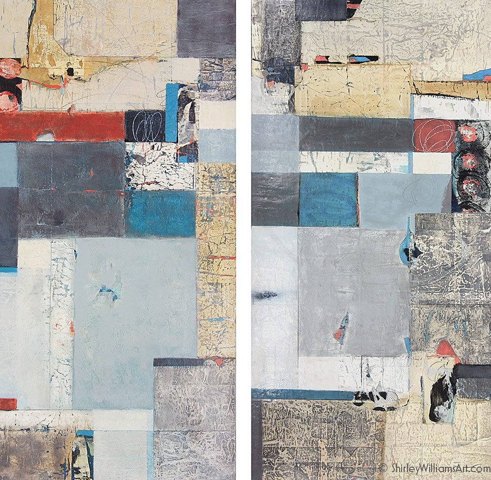 Original paintings diptych called Organizing Space by artist Shirley Williams