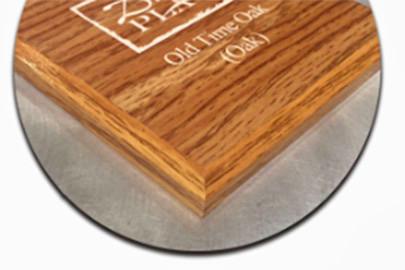 PlaqMount Old Oak finished edge treatment