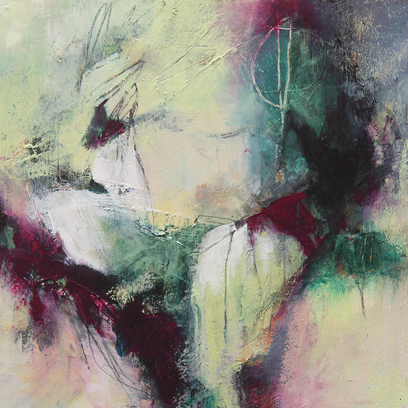 Green and violet abstract painting by Canadian Artist Marianne Morris