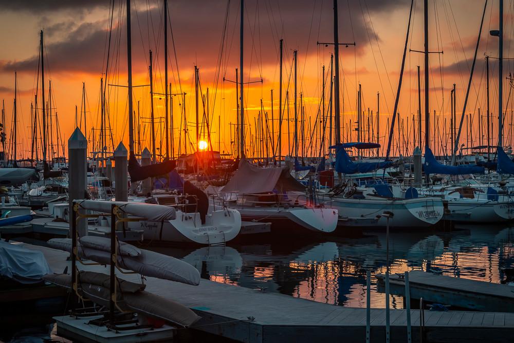 A stunning sunset over the marina in Redondo Beach