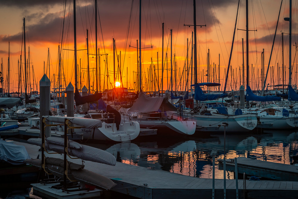 Sunset over the marina in Redondo Beach, CA