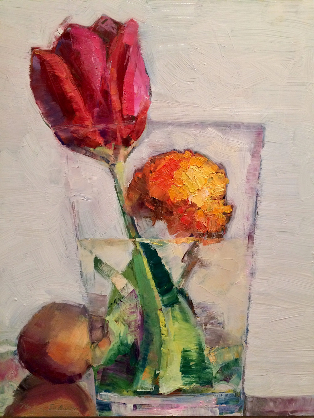"""Still Life With Red Tulip Ranunculus and Guava, Oil, 20""""x16"""""""