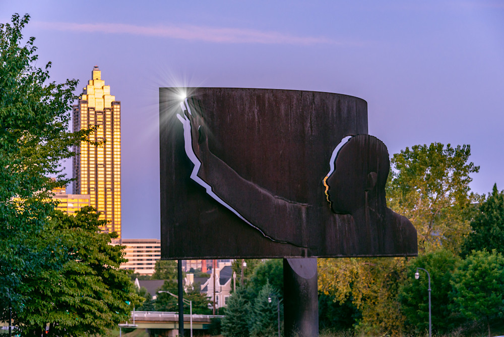 A metal sculpture of MLK, Jr. on Freedom Parkway in Atlanta