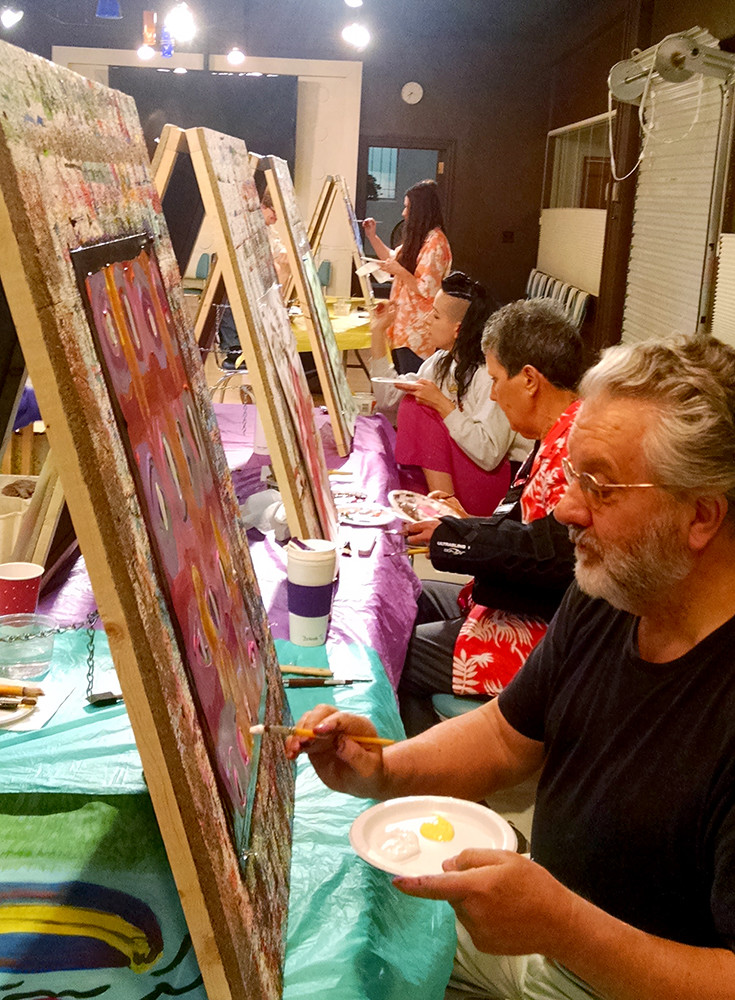 Painters at a process painting workshop