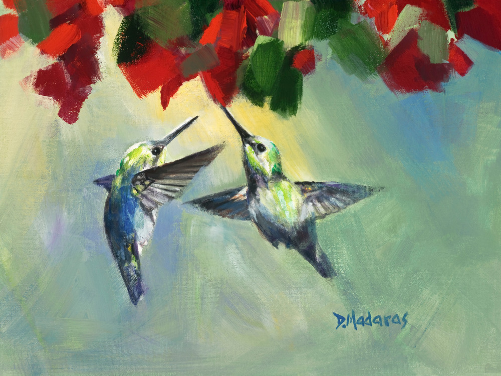Two Hummingbirds Painting