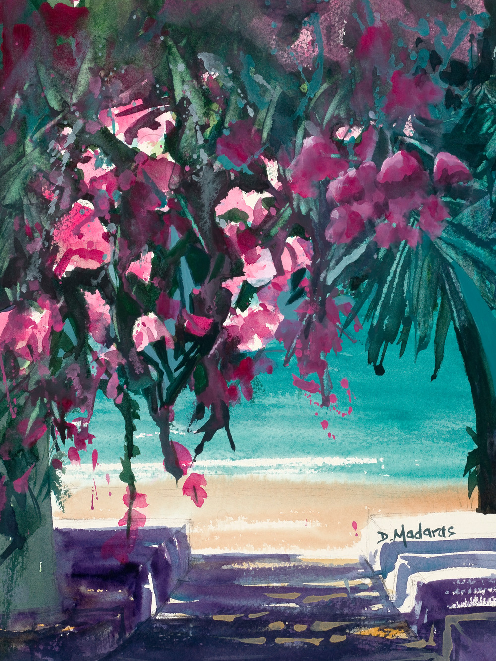 Bougainvillea by the Sea Watercolor Greece