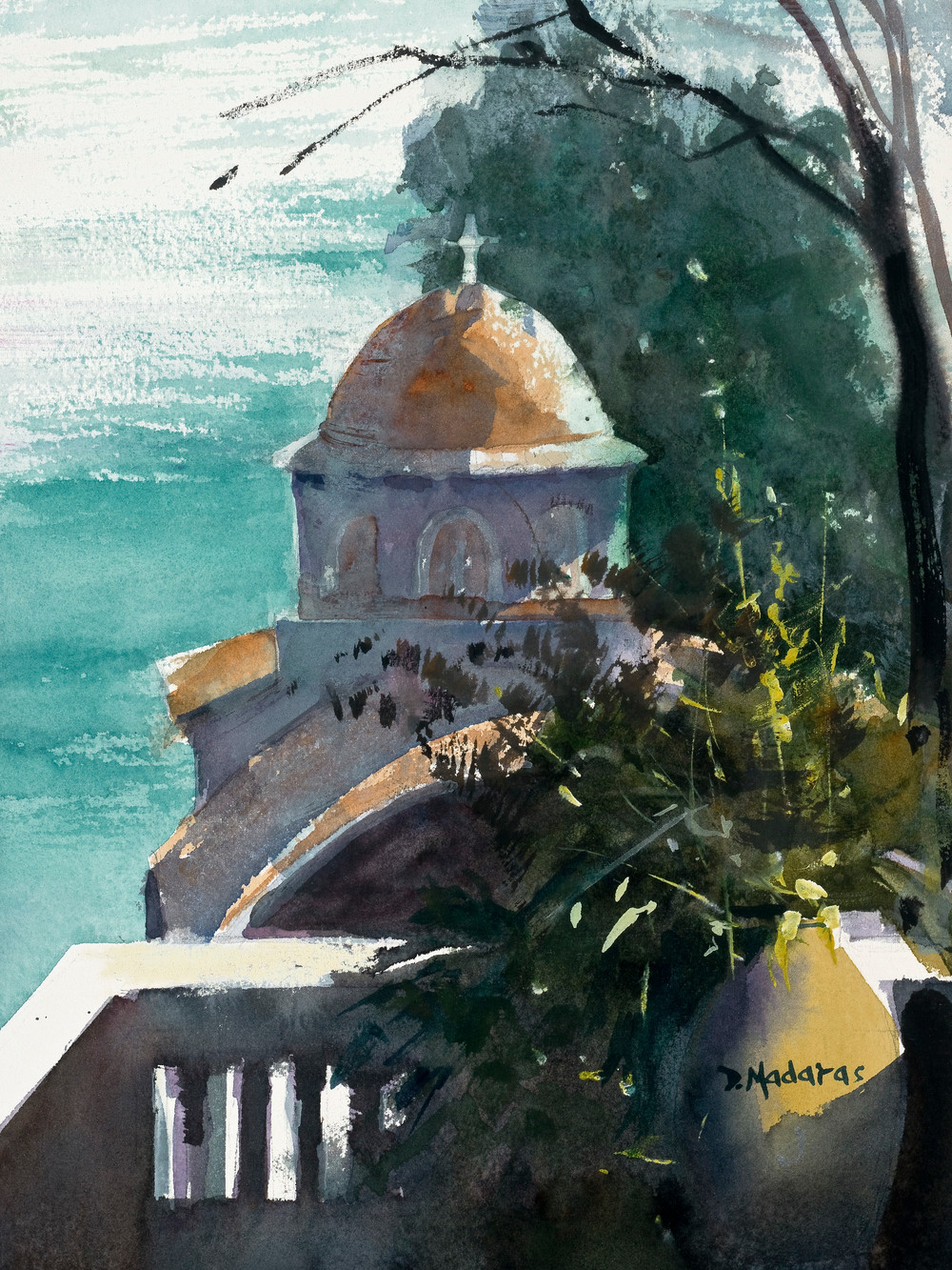 Monastery Greece Watercolor