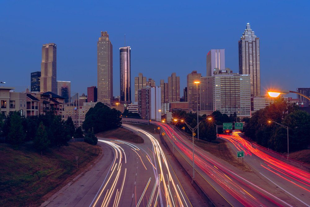 Sunrise view of the Atlanta Skyline from Jackson Street Bridge
